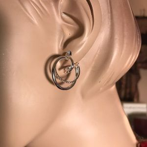 Jewelry - Hoop within hoop earrings silvertone